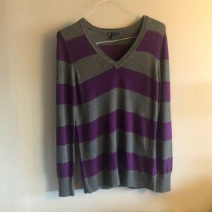 Gap luxe grey and purple striped sweater